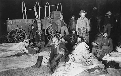 Cowboys in pausa durante il trasporto delle mandrie. Inizi 1800