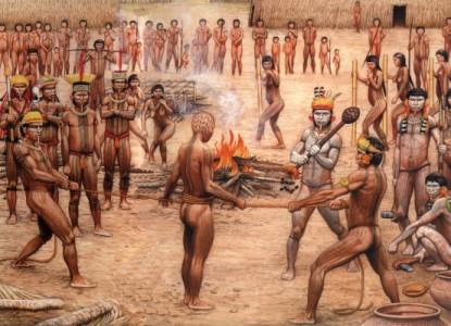 Una immagine esplicativa delle tradizioni dei Nativi d'America agli inizi del 1600