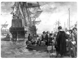 """I Padri Pellegrini arrivarono a Playmouth nel Massachussets nel 1620,per """" convertire """" al Cristianesimo la popolazione indigena. Fu la prima colonia di pionieri che si insedio' in America, ivi giunta con lo storico veliero MAYFLOWER."""