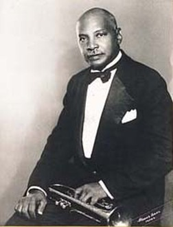 William C.Handy a 65 anni con la sua inseparabile tromba