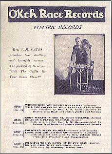 In questa foto del catalogo pubblicitario della Okeh e' visibile la dicitura RACE RECORDS,1920