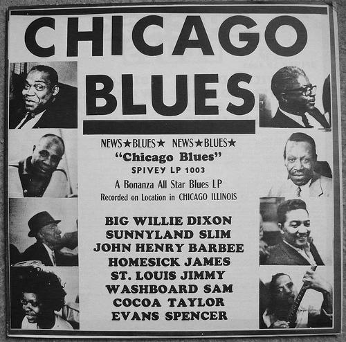 """Locandina esplicativa dei """" miti """" del Blues a Chicago e del BOOM della nuova musica."""