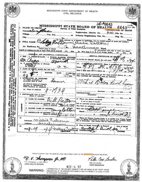 Certificato di morte di Charlie Patton