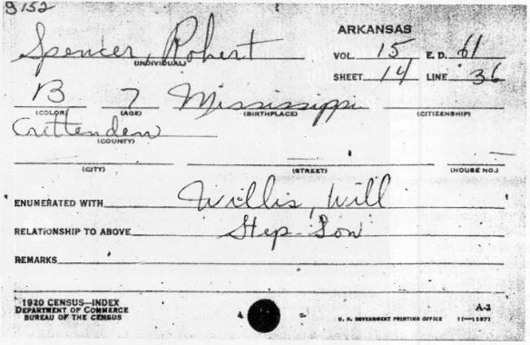 Ecco il certificato originale che attesta che nel 1920 il piccolo Robert viveva gia' con la madre e il  secondo patrigno Dusty Willis in Arkansas. E' interessante notare come il nome del bambino fosse Spencer.