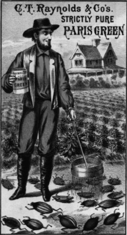 Manifestino pubblicitario del piu' famoso insetticida a base di arsenico,in cui il famoso Paris Green appariva come elemento principale.