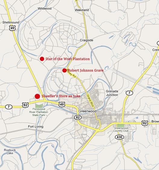 Questa mappa indica chiaramente dove si trovava il juke Joint Schaeffer's . Il locale fu poi distrutto da un temporale nel 1940.