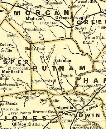 Questa cartina indica l'esatta posizione di Eatonton nel 1883