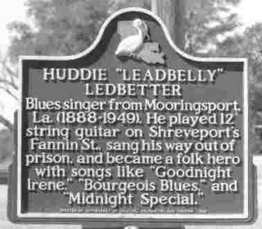 Mooringsport Leadbelly sign