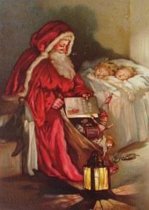 """Un'iconografia classica di Santa Claus prima che arrivasse la Coca Cola.  Per i bambini  di ogni età Babbo Natale ha sempre rappresentato lo Spirito del Natale. Per questo la """" distruzione """" del mito rappresentata dalla canzone  gridò allo scandalo."""