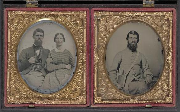 [Dr. Alexander Harris of 15th Virginia Infantry Regiment in uniform and Dr. Harris with his wife after the war 1870