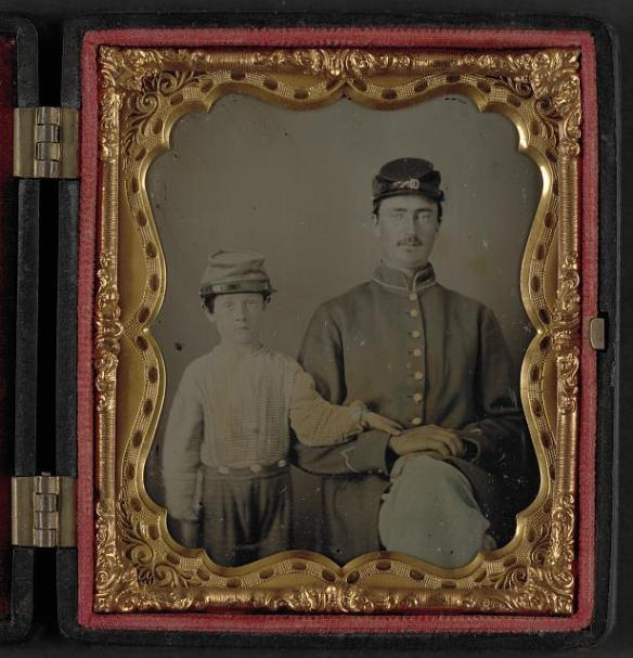 padre e figlio soldati insieme dell'Unione 1864