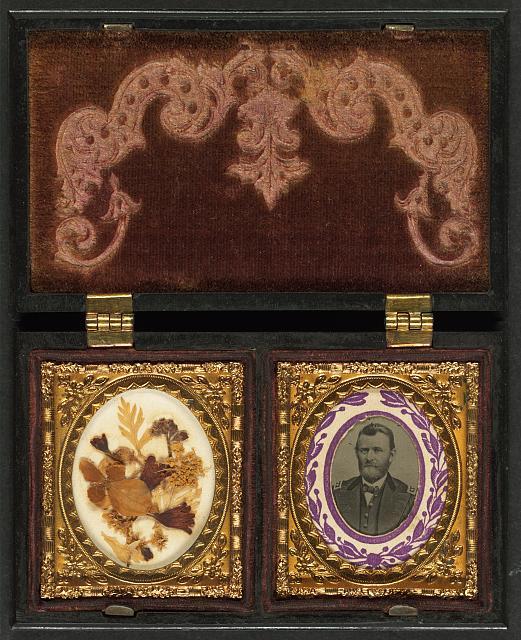 [Ulysses S. Grant of General Staff Regular Army Infantry Regiment; dried flowers in frame on left] 1866