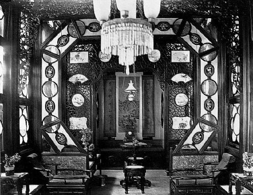 "Canton, China. ca. 1880 Salon of ""Pleasure, or Flower Boat""-""magnificently fitted i marble- small room at back is where the Chinese smoke opium-for sm"